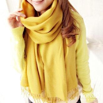 圍巾 韓系薑黃色流蘇披肩圍巾(預+現) Korea Q【14100039】