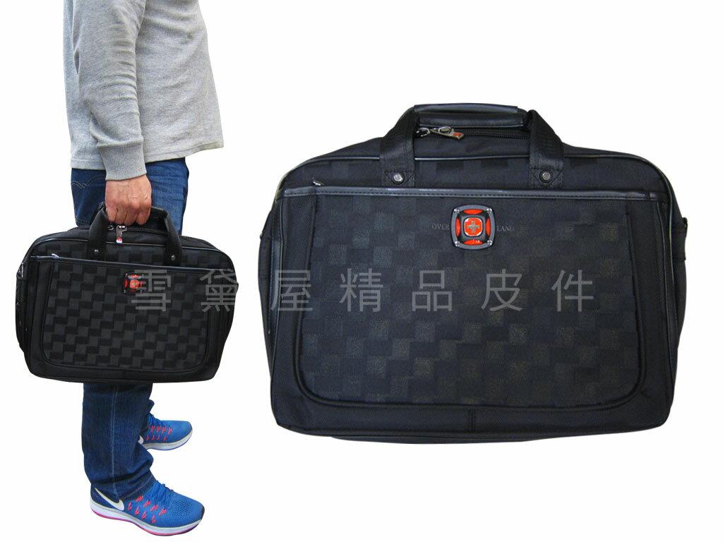 ~雪黛屋~OVER LAND 文件包中大容量二層主袋可加大容量公事包可放14吋電腦A4資料