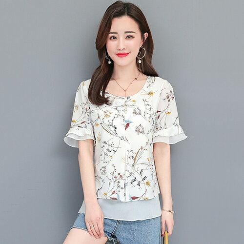 *ORead*韓版喇叭袖寬鬆顯瘦雪紡衫(4色M~4XL) 3