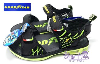 【巷子屋】GOODYEAR固特異 男童專業六大機能緩震氣墊運動涼鞋 [48695] 黑綠 超值價$298+免運