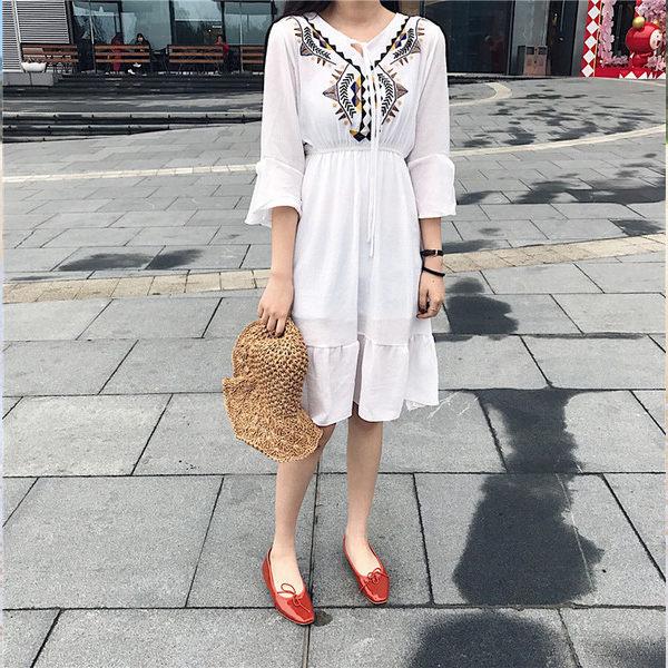 PS Mall 氣質刺繡系帶蝴蝶結繡花棉麻連身裙 連身洋裝~T804~