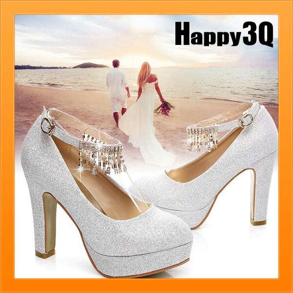 高貴氣質新娘浪漫婚紗禮服伴娘亮片水鑽流蘇大尺碼婚鞋粗跟高跟鞋-8公分/5公分34-41【AAA0994】