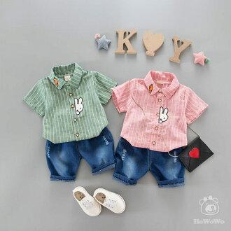 嬰兒短袖套裝 短袖襯衫 +短褲牛仔褲 寶寶童裝 YN7646 好娃娃