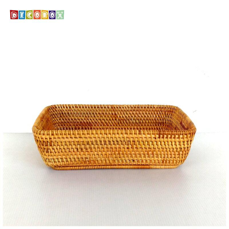 DecoBox藤編大長方茶點盤(茶道,藤編包) 1