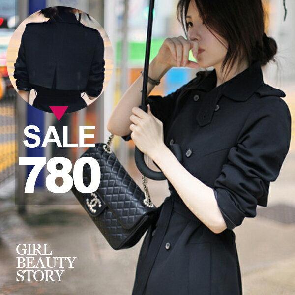 SISI~C7003~ 名媛氣質百搭翻領雙排扣修身縮腰綁帶顯瘦中長款風衣外套
