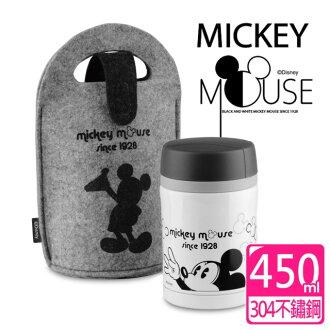 【迪士尼Disney】米奇黑白經典提袋304不鏽鋼超真空燜燒杯-450ml