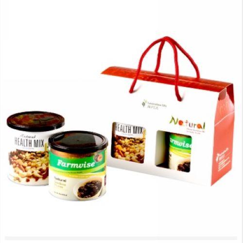 鏡感樂活市集 清淨生活 健康零嘴禮盒 (天然綜合堅果310g+農場智慧-蜜棗乾230g)