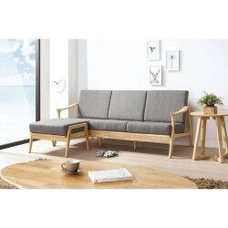 【簡單家具】,H261-06 傑瑞原木L型休閒椅組(灰布),大台北都會區免運費,組裝定位到好!