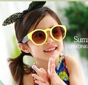 Kocotree◆馬卡龍花樣果色兒童防紫外線護目太陽眼鏡~黃色