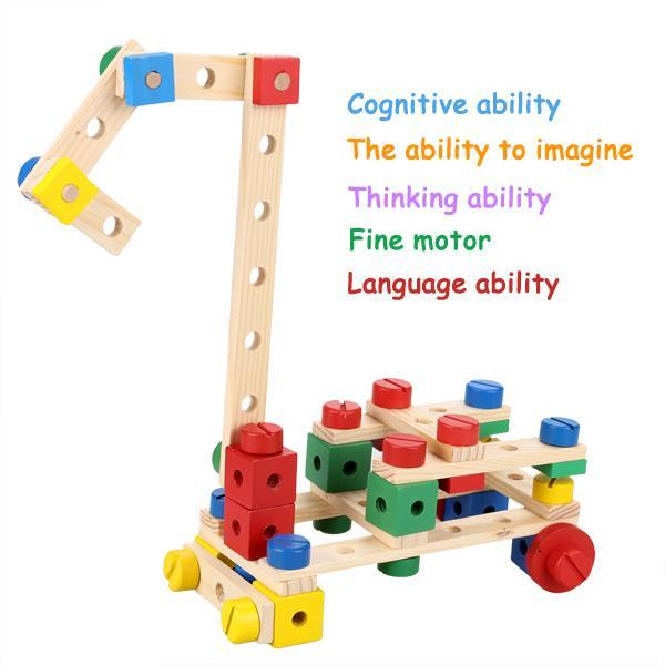 Baby 78 PCS Multi Functional Wooden Nuts and Bolts Combination Toys Building Construction Set 0