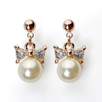 ~玫瑰金耳環925純銀水晶耳飾~蝴蝶結珍珠 情人節生日 女飾品73gs48~ ~~米蘭 ~