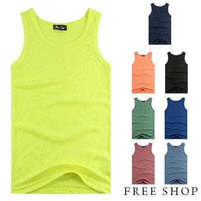 Free Shop~QR73880~日韓繽紛螢光色系 休閒百搭螺紋彈性棉料 背心‧八色 M