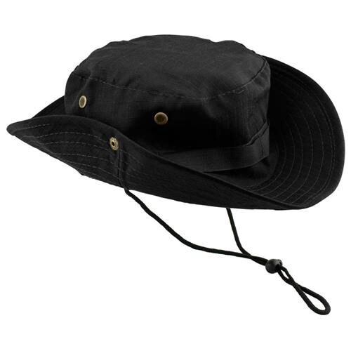 1f16f672c95 Fishing Hunting Bucket Hat Boonie Outdoor Cap Washed Cotton Military Safari  Summer Men - Black 0