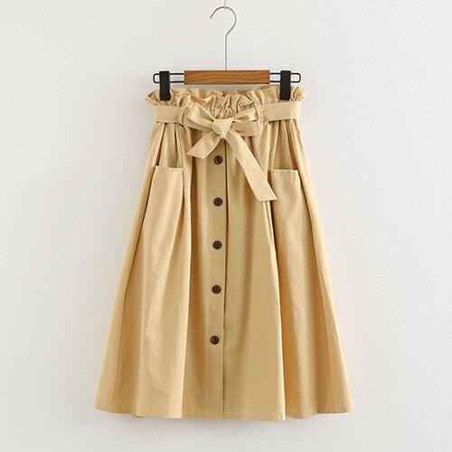 *ORead*小清新大口袋高腰棉麻繫帶半身裙(4色F碼) 0