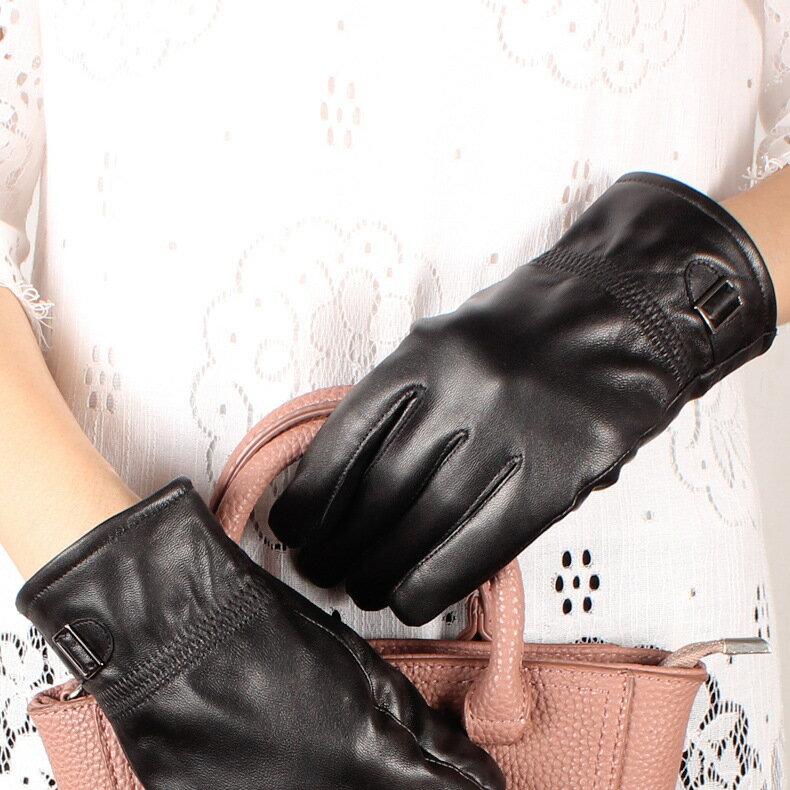 真皮手套保暖手套-羊皮加絨皮扣黑色女手套73wm69【獨家進口】【米蘭精品】 2