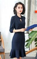 必勝顯瘦約會洋裝到2019春夏新款上市 全家免運   七分袖知性甜美洋裝 黑色 藍色 制服訂做就在WK FASHION推薦必勝顯瘦約會洋裝