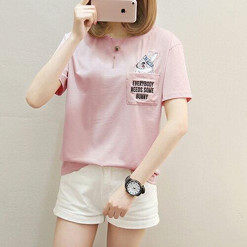 純棉短袖口袋刺繡短袖T恤(3色M~2XL)*ORead*