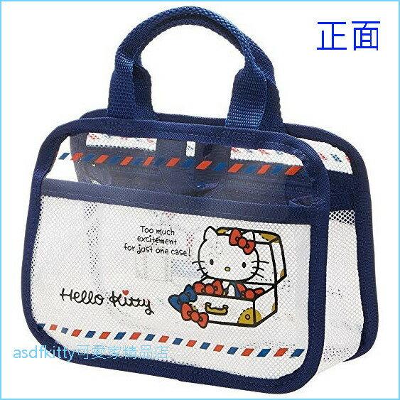 asdfkitty可愛家☆KITTY藍邊手提小網袋收納袋溫泉袋游泳沐浴袋-日本正版商品