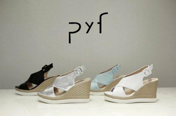 Pyf♥簡約4色素面交叉寬帶厚底防水台楔型涼鞋43大尺碼女鞋