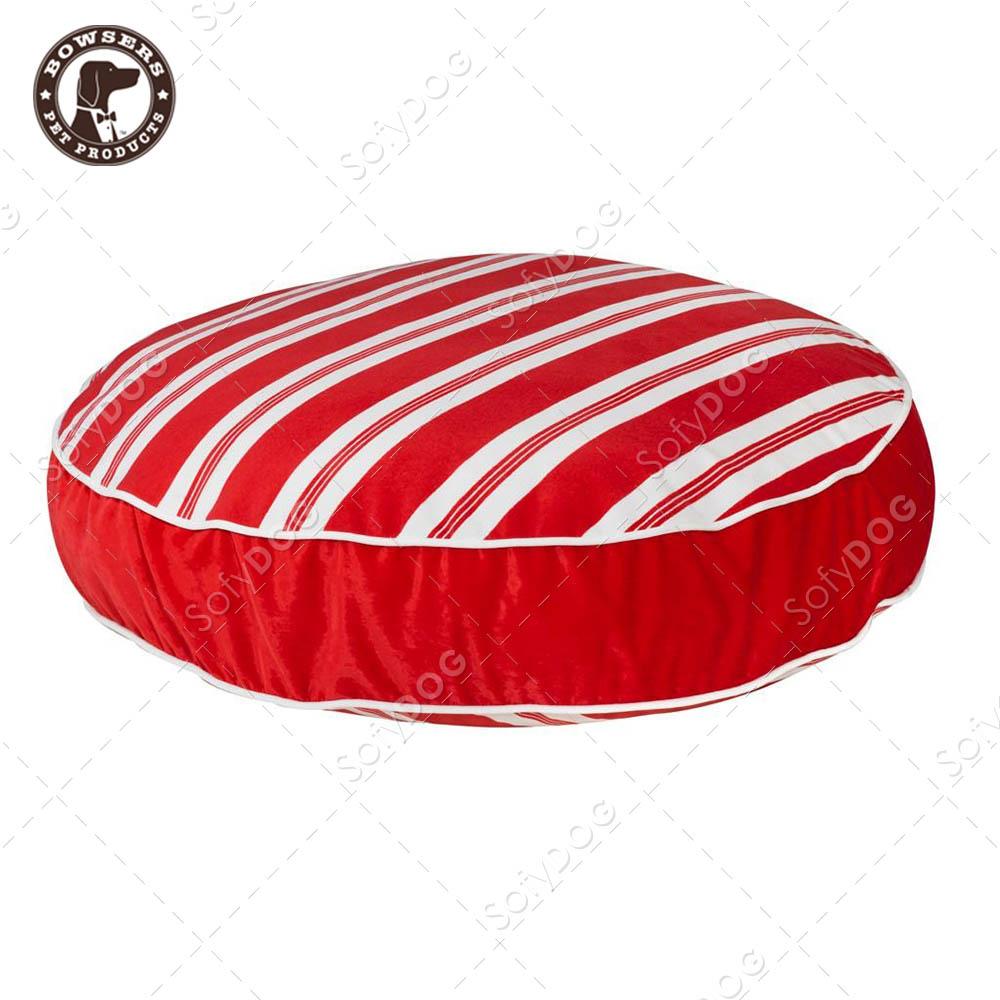 BOWSERS極柔寵物圓墊床-紅白斜紋-M