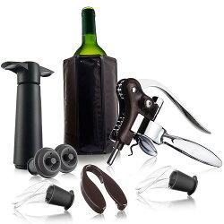 《VACU VIN》兔耳開酒器+抽真空+軟冰桶8件(黑)