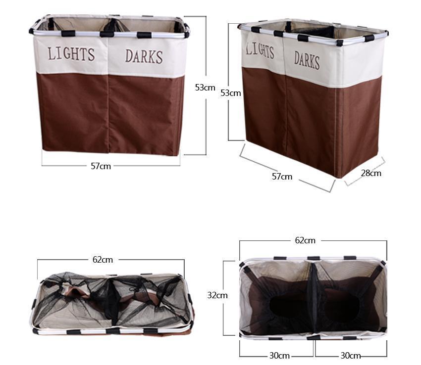 Foldable 2 Sections Laundry Basket Double Washing Storage 4