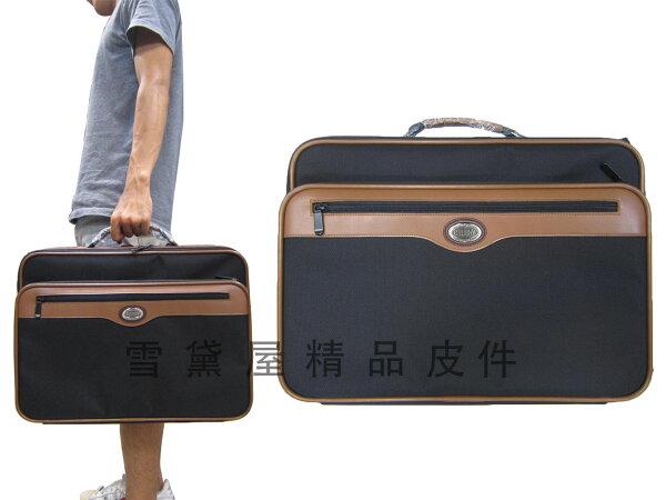 ~雪黛屋~YESON公事包大容量可A4資夾輕旅行箱台灣製造品質保證登機箱工具箱萬用袋防水尼龍布材質+皮革Y7267