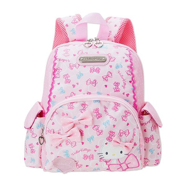 【真愛日本】16121600098輕量護脊後背包S-蝴蝶結愛心滿粉  三麗鷗 Hello Kitty 凱蒂貓 後背包 兒童書包