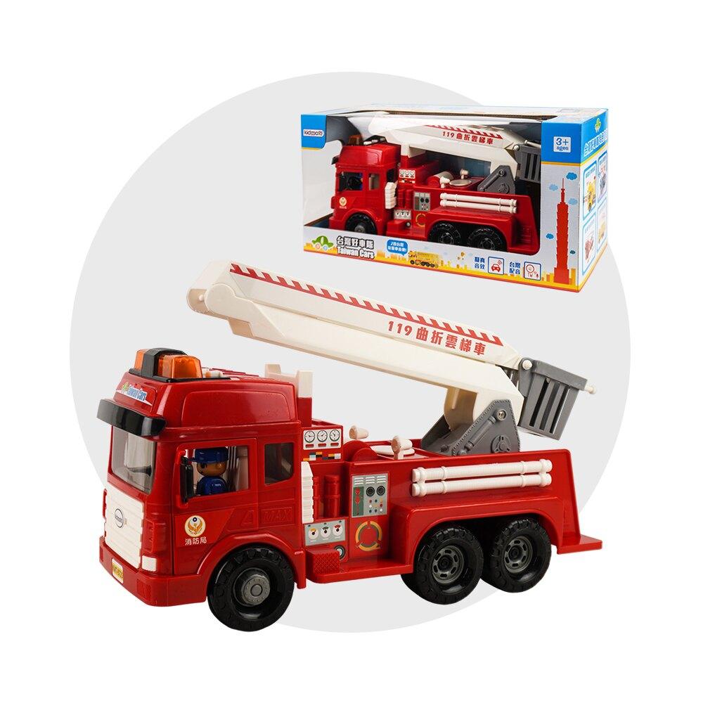 ST台灣配音大型紅色消防噴水雲梯車(雲梯可升高)(車門開附人偶)(品質佳超會跑)【888便利購】