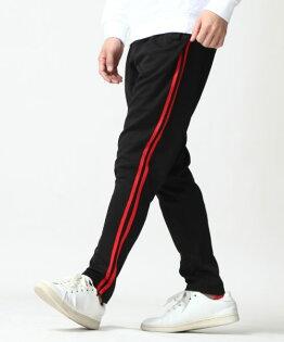 運動束口褲BLACK×RED雙線