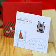 聖誕 書籤 系列-聖誕 兔子 卡片 銀 銀製品 典藏 賀卡