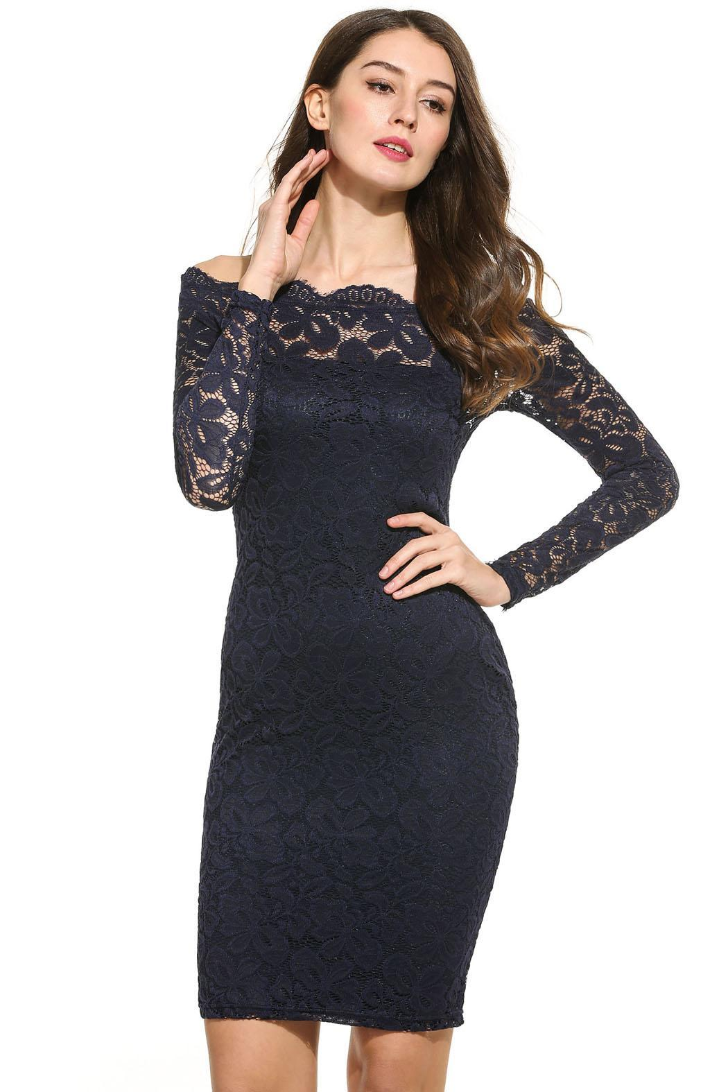 Women Sexy Strapless Off Shoulder Hollow Floral Lace Dress with Inner Tube 0