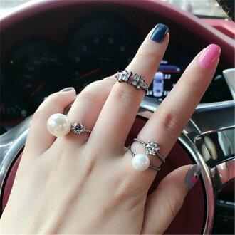 PS Mall 韓版 個性時尚百搭指環 開口雙層珍珠戒指鑲鑽 日韓潮人食指戒指【G2002】