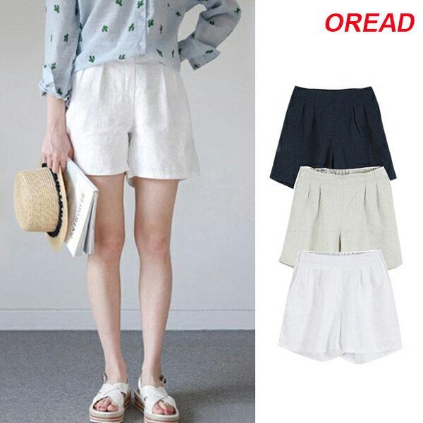 *ORead*韓版棉麻闊腿短褲(4色M~4XL) 0
