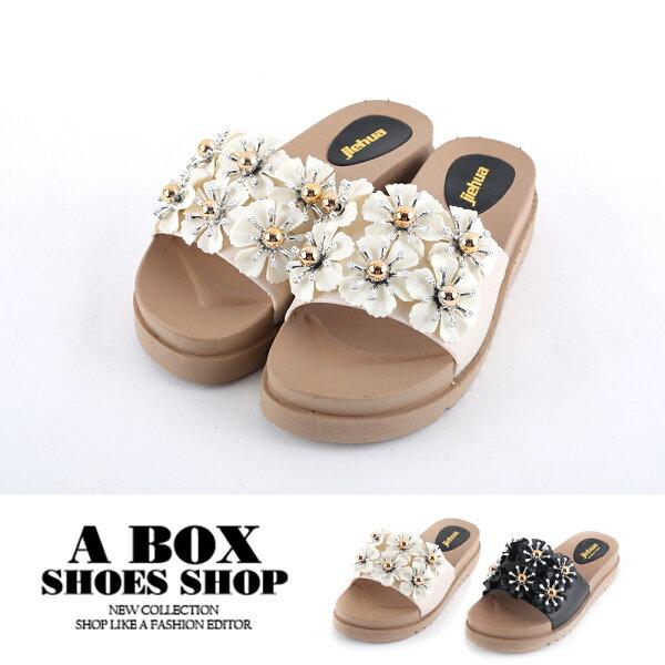 【AS1609】休閒百搭滿版花朵珠飾厚底拖鞋涼拖鞋3.5CM2色