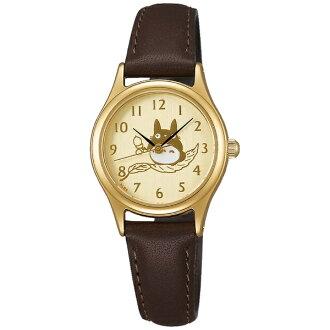 【真愛日本】16051100070皮帶咖圓型金錶-龍貓乘葉划船 龍貓 TOTORO 豆豆龍 仿皮手錶 時尚錶 圓錶