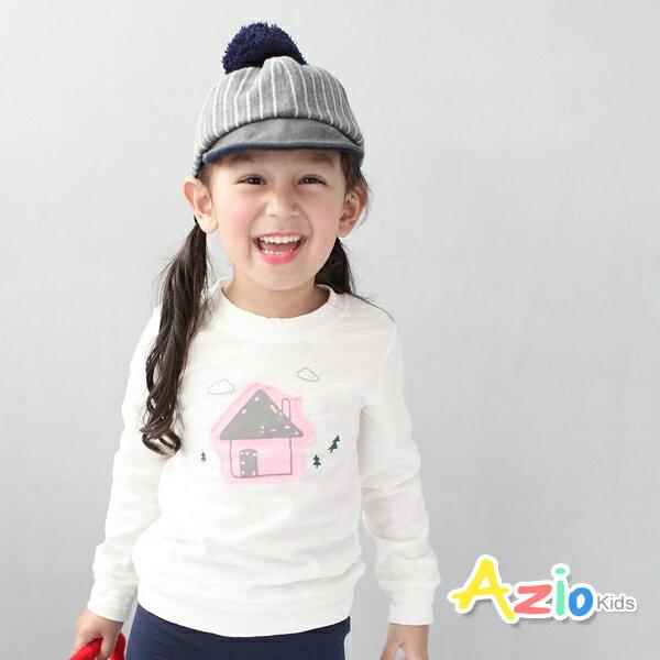 Azio Kids美國派:《AzioKids美國派童裝》上衣房子小樹長袖棉T(白)