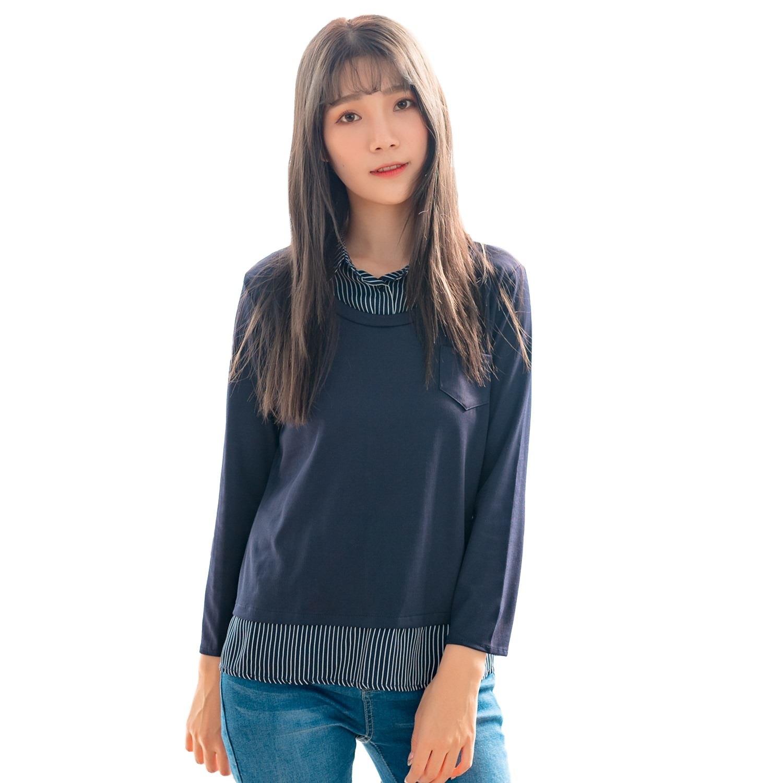 假兩件襯衫--OL針織拼接直條紋雪紡寬鬆長袖襯衫領假兩件上衣(藍L-2L)-I124眼圈熊中大尺碼 0