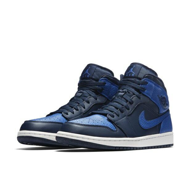 NIKE AIR JORDAN 1 MID 男鞋 休閒 高筒 一代 黑 藍 【運動世界】 554724-412