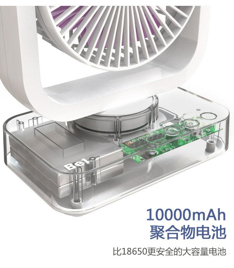 新款 戶外露營USB風扇 雙層扇摇头10000mAh大容量 10W2A快充 風扇 2