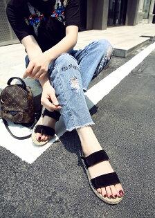 夏天必備!可調麂皮涼鞋麻繩底草編鞋黑色