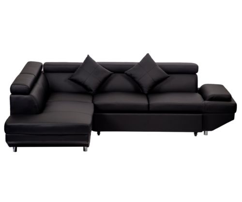 Modern Contemporary Leather Sectional Corner Sofa With Functional Armrest Left 0