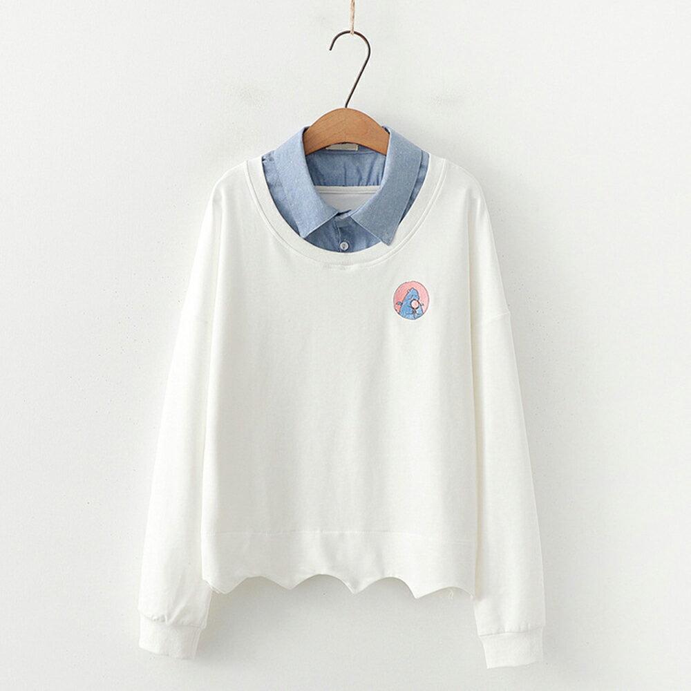 學院風刺繡拼色連帽毛圈棉質假兩件衛衣(3色F碼)【OREAD】 3