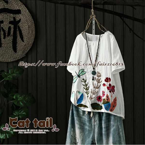 《貓尾巴》JP-01794中國風復古精緻刺繡短袖上衣(森林系日系棉麻文青清新)
