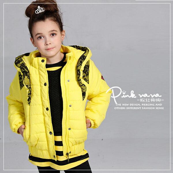 PINKNANA女童 防風保暖厚外套 亮色個性鋪棉厚感連帽外套28166