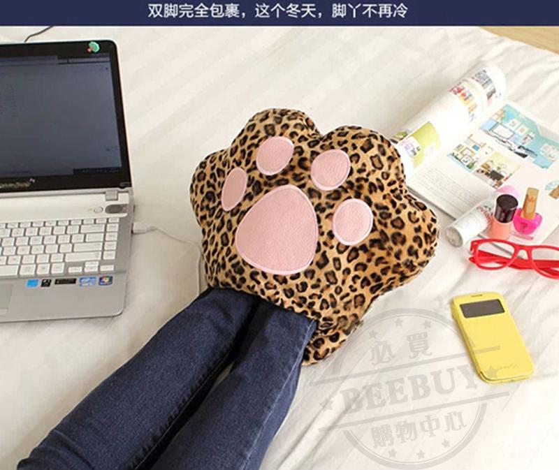 [BEEBUY]聖誕交換禮物 毛?貓爪全包式保暖鞋 保暖商品 暖手抱枕 包覆式暖腳器 USB暖腳寶 暖腳拖鞋 暖手枕