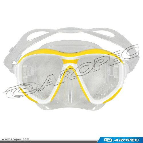 【【蘋果戶外】】AROPEC M2-CD24-YL 黃 潛水面鏡 台灣製 亞洛沛 浮潛矽膠面鏡 可另外選購近視鏡片 TUSA IST 可考慮