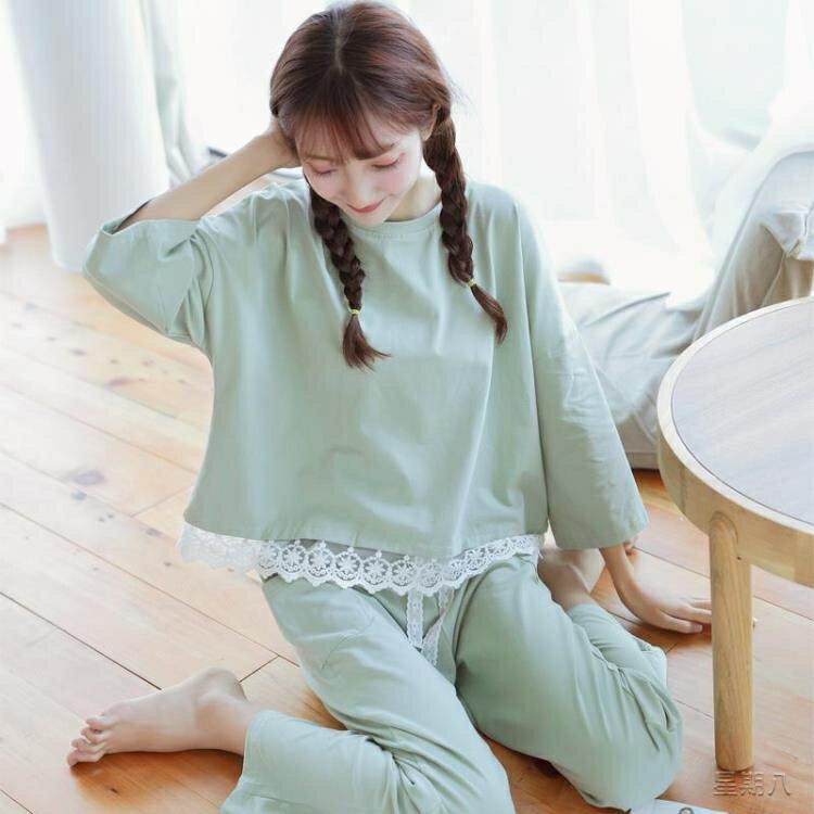 月子服 長袖睡衣女薄款夏韓版清新學生可外穿春秋月子家居服套裝