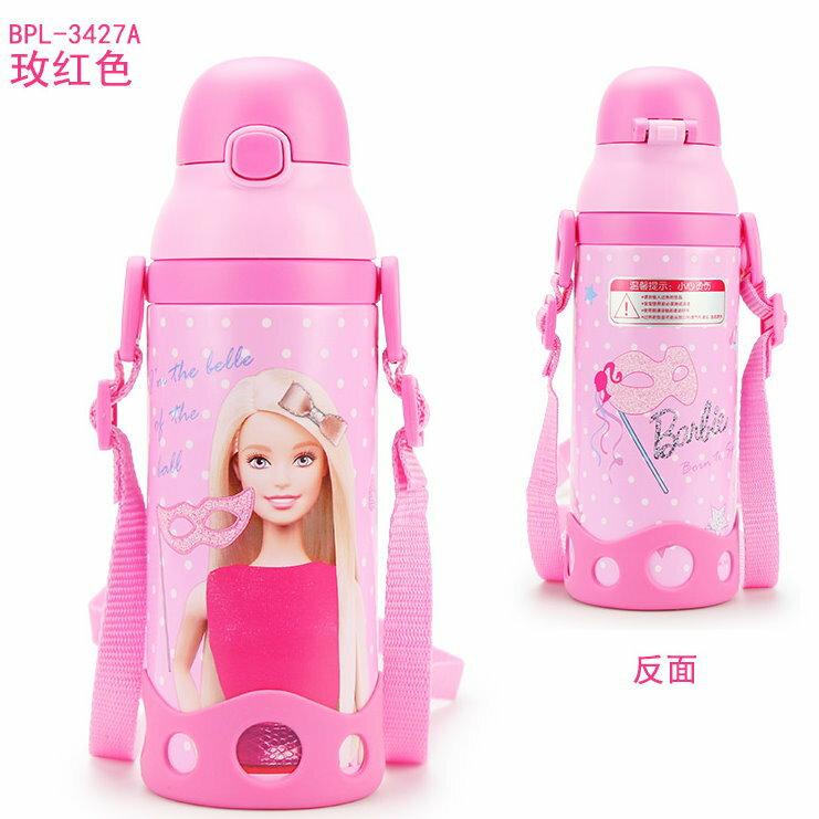新款DISNEY 芭比 吸管保溫不鏽鋼兒童保溫水壺500ML-3427A