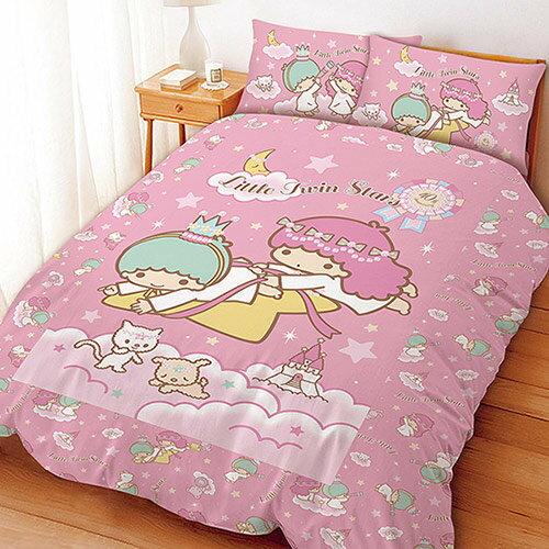 (免運)MIT台灣製造卡通系列【KIKILALA雙子星/雙星仙子-粉】 單人床包組/雙人床包組/被套/薄被單/兩用被/枕頭套/鋪棉被套/涼被~華隆寢飾